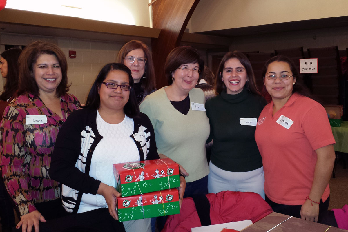 Packing  Christmas shoeboxes for Samaritan's Purse